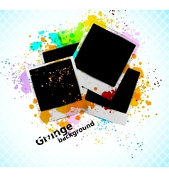 Grungr background with photoframe vector image