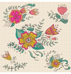 Hand drawn flower bouquet set pastel background vector