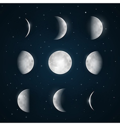 Moon Phases - Night Sky with Stars vector image vector image