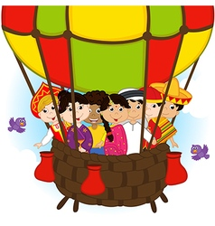 multicultural people on one balloon vector image vector image