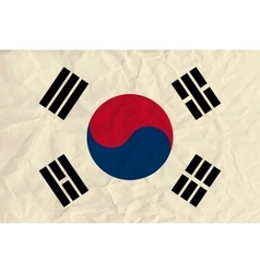 Republic of Korea paper flag vector image