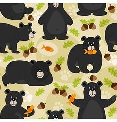seamless pattern black bear vector image vector image