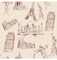 World landmark seamless pattern vector image vector image