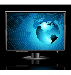 lcd panel with world background vector image vector image