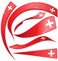 swiss flag set on white background vector image vector image