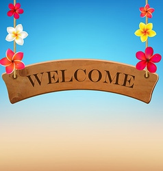 Wooden Sign With Frangipani vector image