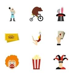 Circus chapiteau icons set flat style vector