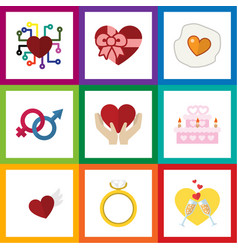 Flat icon love set of present wings sexuality vector