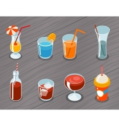 Isometric 3d drinks icons vector image