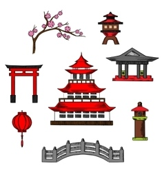 Japan travel and culture cions vector image vector image