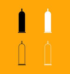 latex condom set black and white icon vector image