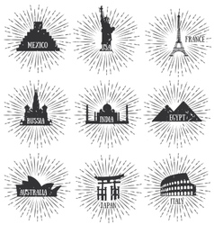 Of World Famous Travel Badges vector image