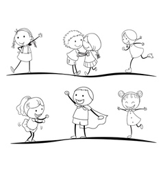 scetches of kids vector image vector image