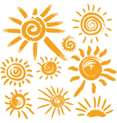 Set of handwritten sun symbols vector image vector image