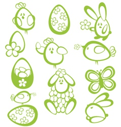 Funny easter characters vector image vector image