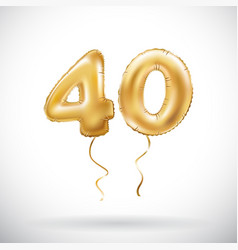 golden number 40 forty metallic balloon party vector image vector image