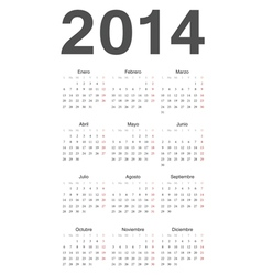 Spanish 2014 year calendar vector image vector image