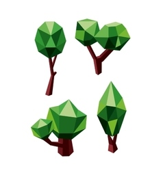 Trees icons composed by green and brown polygons vector image vector image