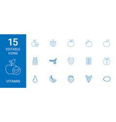 15 vitamin icons vector image