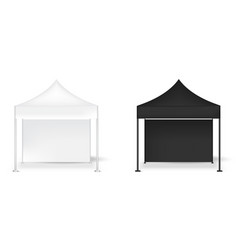 3d mock up realistic tent display wall pop booth vector