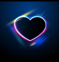 abstract background with neon heart on a dark vector image