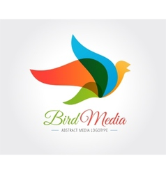 Abstract bird logo template for branding vector