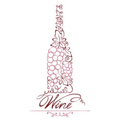 Abstract floral red wine bottle vector