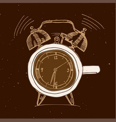 alarm clock and coffee doodle concept vector image