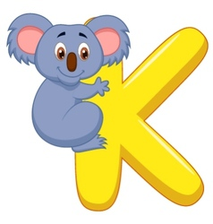 Alphabet K with Koala cartoon vector
