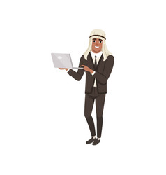 Arabic businessman character standing with laptop vector