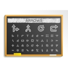 Arrows hand drawing line icons chalk sketch signs vector