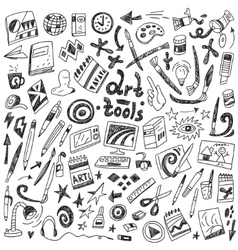 Art tools - doodles set vector