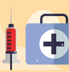 blood syringe and kit medicine medical equipment vector image