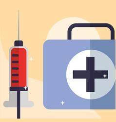 blood syringe and kit medicine medical equipment vector image