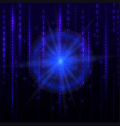 Blue binary computer code background cyber future vector