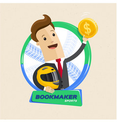 bookmaker man with helmet and money motor sports vector image