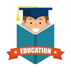 Boy student graduation distance e-learning graphic vector