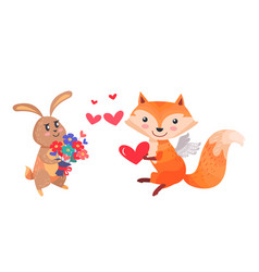 bunny with bouquet of flowers and fox with wings vector image vector image
