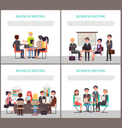 Business meeting banners with people around table vector