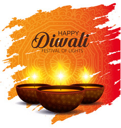 Candles decoration to diwali light festival vector