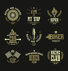 Car races and service badges and logo vector image