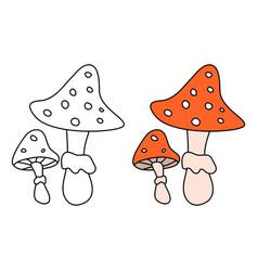 Cartoon amanita fly agaric mushroom icon isolated vector