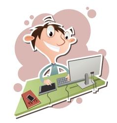 Cartoon digital artist vector