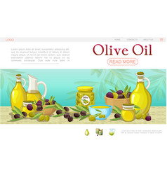 Cartoon olive oil web page template vector