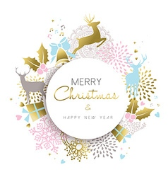 Christmas and new year gold deer decoration design vector