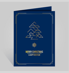 christmas card with vintage golden xmas tree vector image