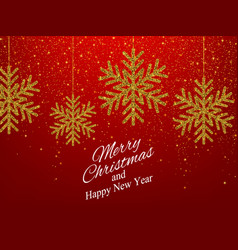 Christmas new year background with gold snowflakes vector