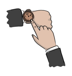 close-up hand of businessman pointing watch vector image