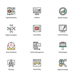 Colored icons of internet and digital marketing vector