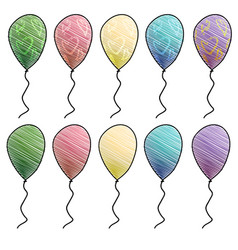 Colorful helium balloons with hearts vector